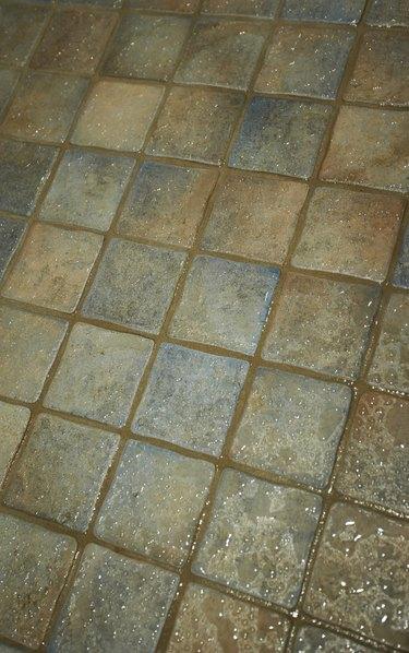 Wet tile floor