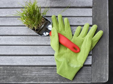 Garden gloves and spade with planter