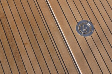 Teakwood deck of boat