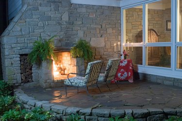 Exterior fireplace on upscale house