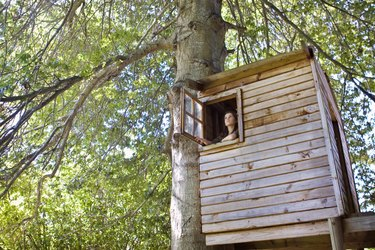 Girl in a tree house