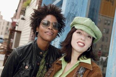 Portrait of two urban women outdoors