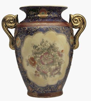 close-up of an ornate Japanese vase