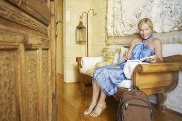 Mature woman in boutique hotel (portrait)