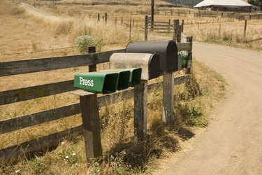Side profile of old fashioned mailboxes, Mt. Tamalpais State Park, California, USA