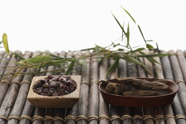 Bamboo, tourmaline and aloeswood, elevated view (focus on tourmaline)
