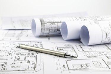 blueprints and pen