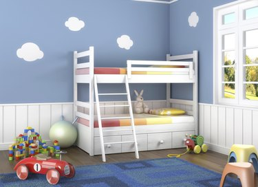 blue children´s room with toys
