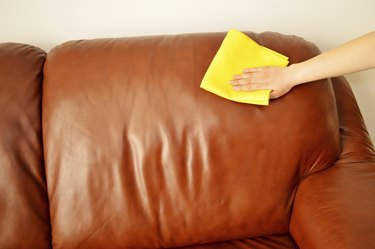 brown sofa cleaning a manually