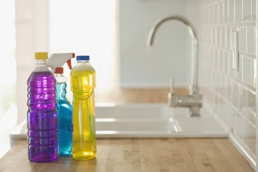 Cleaning supplies and sink