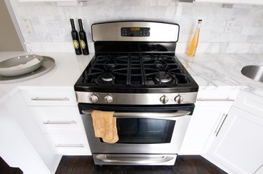 Contemporary steel oven in kitchen