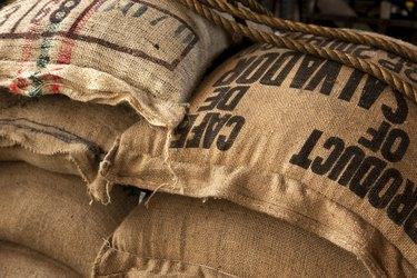 Burlap sacks with coffee beans