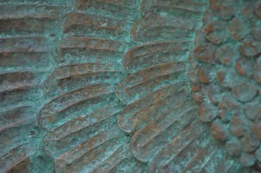 Close-up of turquoise relief