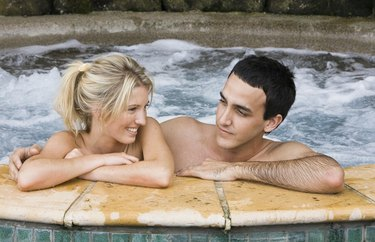 Couple relaxing in spa together