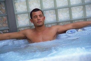 Man in hot tub