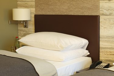 Luxury hotel bed, close up