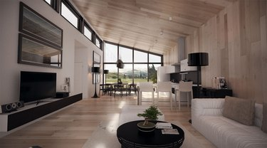 open concept floor plan modern home black white and neutral wood decor