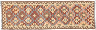 Kilim runner with yellow, orange, and red variegated pattern
