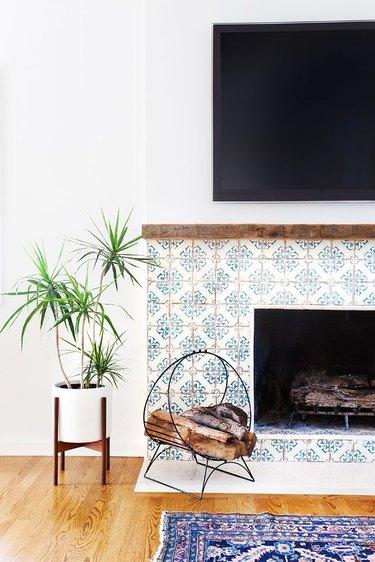 encaustic cement tile fireplace surround