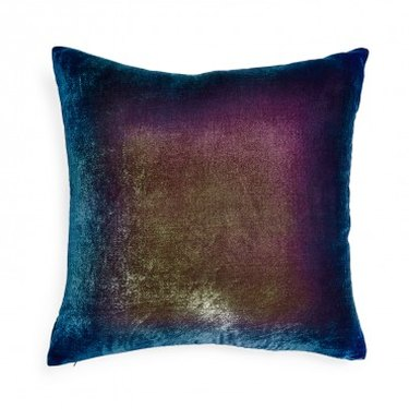Iridescent velvet throw pillow featuring purples and blues