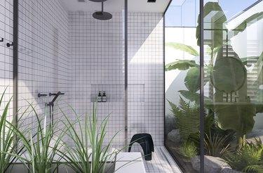 modern indoor outdoor bathroom