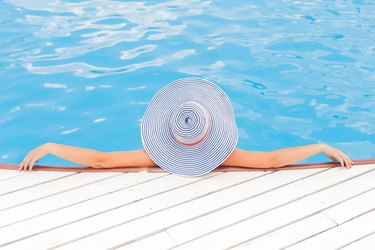 Basking in a saltwater pool.