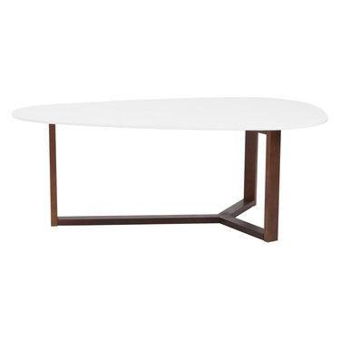 midcentury assymetrical white coffee table