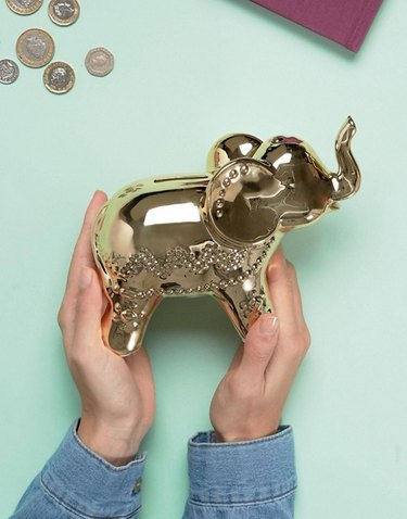 New Look Elephant Gold Metallic Money Box