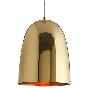 Gold bell-shaped pendant light