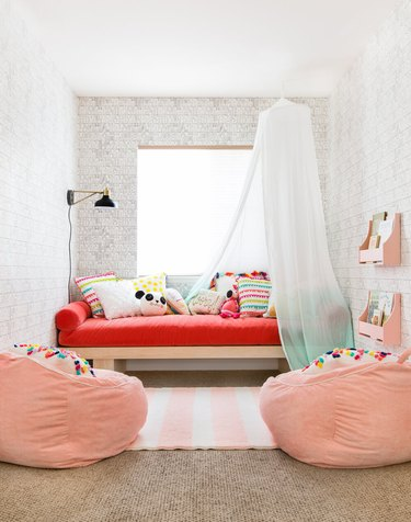pink and red child's room