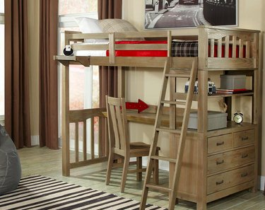 Commercial loft bed ensemble.