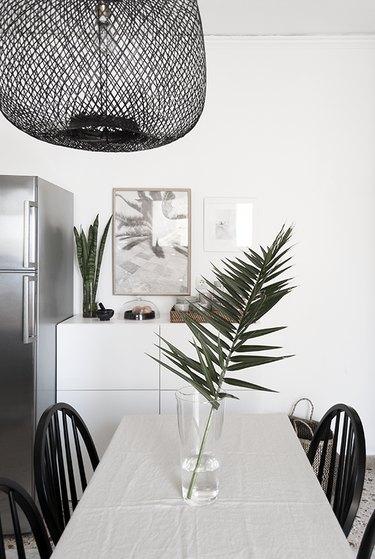 modern kitchen palm fronds bamboo light