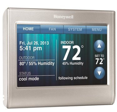 A Honeywell programmable thermost with wi-fi controls.