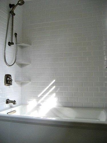 subway tiled bathtub surround