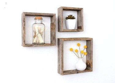reclaimed wood shelf set