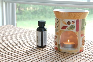 Essential oil in a candle heater.