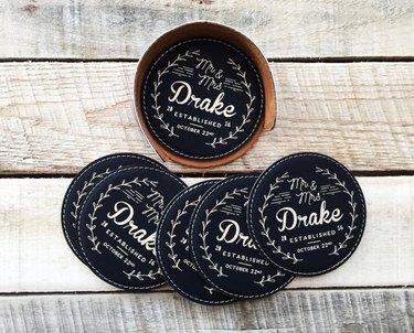custom leather coasters