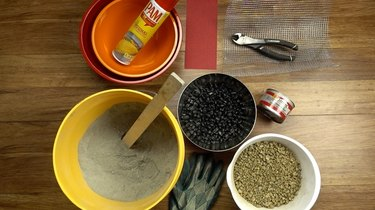 Materials for DIY tabletop concrete fire bowl