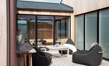 Scandinavian beach cottage deck