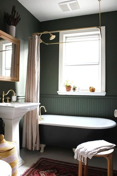hunter green bathroom