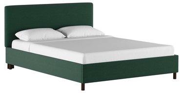 green linen bed