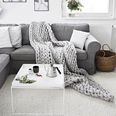 chunky knit blanket in living room