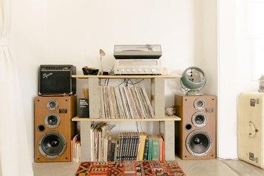 Cinder blocks act as homemade shelves
