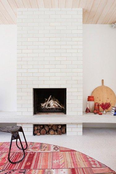 white fireplace surround