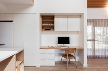 white Scandinavian home office that minimalist with cabinets and built-in desk