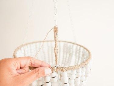 diy beaded wood chandelier