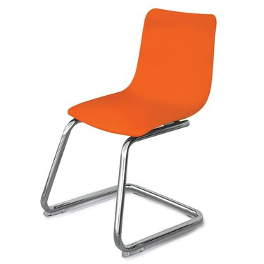 Small orange and metal chair for kids
