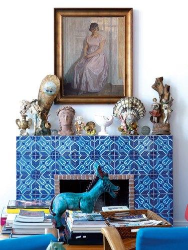 bright pattern fireplace surround