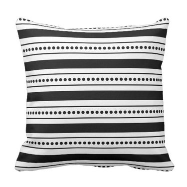Black and white striped throw pillow with black stripes in various sizes