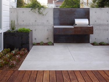 concrete patio garden design with examples of hardscape materials